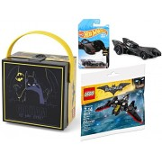 "Hot Wheels 2018 Batmobile + DC Comics Batman ""Gotham Is My City!"" Square Lunch Box DC Comics Lego Batman Batwing plane action vehicle"