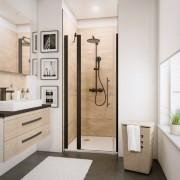 Schulte Home Porte de douche pivotante 90 cm, grande niche, transparent, anticalcaire, style industriel, profilé noir
