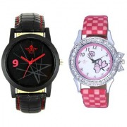 Star Black Dial With Flowers Pink Art Couple Analoge Wrist Watch By Ganesha Exim