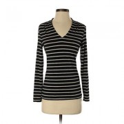 Banana Republic Factory Store Long Sleeve Top Black Stripes V-Neck Tops - Used - Size Small