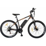 Bicicleta electrica MTB E-BIKE CARPAT 27.5 I1008E cadru aluminiu frane mecanice disc echipare SHIMANO 21 viteze negru-portocaliu