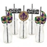 Big Dot Of Happiness Mardi Gras Paper Straw Decor - Masquerade Party Striped Decorative Straws Set 24