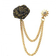 Sullery Wedding Rose Flower Gold Chain King Crown Lapel Pin Brooches For Men Women