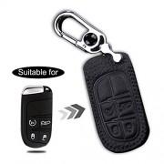 ALLYARD para Jeep 4 Fundas de Llave Inteligente de Coche Leather Remote Control Key Fob Piel Chamarra Cover Case protectorKeyless Entry Negro B