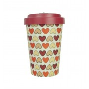 Woodway coffee to go beker bamboe retro harten - rood - 400 ml