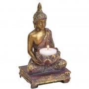 Geen Goud boeddha beeldje met waxine/theelicht houder 18 cm