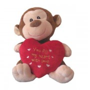 Cute 15 Inch Brown Smiley Monkey with Beautiful Red Heart