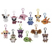 Stuffed Animals Beanie Boos Bundle Set of 12 Clips Keychains Plush Toys Party Favors with 12 Animal Puzzle Erasers and 12 Gift Bags