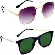 TheWhoop Round, Wayfarer Sunglasses(Violet, Green)