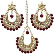 Lucky Jewellery Desiger Maroon Color Gold Plated Kundan Earring Tikka Set For Girls And Women