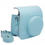 Bolsa Para Cámara Instantánea Mini 8 De Cuero Con Tirantes - Azul