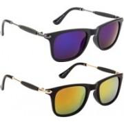 NuVew Wayfarer Sunglasses(Blue, Golden, Orange)
