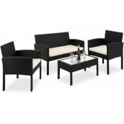 Meble Ogrodowe Poli Rattan Stół + Sofa + 2 Krzesła