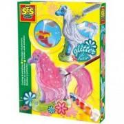 Детски креативен комплект за отливки и оцветяване, Блестящи коне, SES, 080592
