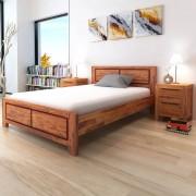 vidaXL Sängram och nattduksbord i massivt akaciaträ 140x200 cm brun