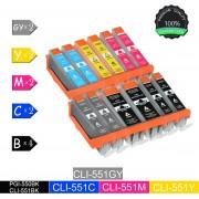 12 Pack Compatibel voor PGI550XL CLI551XL 4 Zwart, 2 Cyan, 2 Magenta, 2 Geel, 2 Grijs voor Canon Pixma iP7200, iP7250, iP8750, MG5450, MG5550, MG7550, MX725, MX925