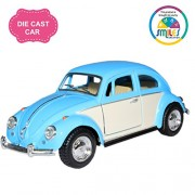 Smiles Creation Kinsmart 1:32 Scale 1967 Volkswagen Classical Beetle Ivory Door Classic Car Toy, Blue (5-inch)
