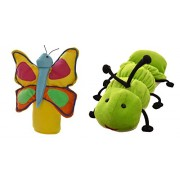 Cuddly Toys Caterpillar and Butterfly Puppets (Teach Life Cycle of a Butterfly) Large Sized