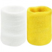 Neska Moda Unisex White And Yellow Pack Of 2 Cotton Wrist Band