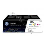 Тонер HP 128A за CM1415/CP1525 3-pack, 3 цвята (3x1.3K), p/n CF371AM - Оригинален HP консуматив - к-т 3 тонер касети