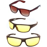 Magjons Brown Wayfarer Night Vision Sunglasses Combo Yellow Driving Goggale Set of 3 With box MJK019