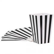 SALOCY Popcorn Boxes, Candy Containers Paper Stripe Box for Movie Party Favor, 24Pcs, Black