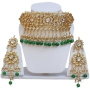 Lucky Jewellery Fashion Green Color Gold Plating Pearl And Kundan Back Side Meenakari Necklace Set For Girls & Women