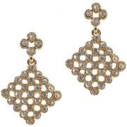 The99Jewel by JewelMaze White Austrian Stone Gold Plated Dangle Earrings-FAG0100