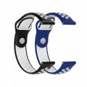 Set 2 curele universale sport din silicon 22mm compatibile cu Samsung Gear S2 / S3 negru si albastru