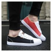 Zapatos De Lona De Hombres Con Cordónes De Color Diferentes De Dos Zapatos De Ocio -Negro Y Rojo