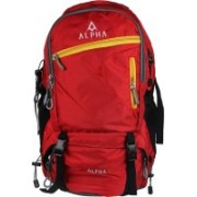 ALPHA TRENDS Unisex Travel Backpack Outdoor Trekking, Hiking, Camping Bag, Rucksack, Lightweight & Longlife - 50 Ltr, 5 Compartments with Zippers/Sliders colour - Red/Black/Yellow Rucksack - 50 L(Red)