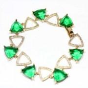 Pulseira Semi Jóia Folheado a Ouro Coração Pedra de Zircônia Verde e Zircônia Cravejada 19cm / 1cm