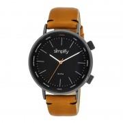 Simplify The 3300 Leather-Band Watch - Black/Black/Orange SIM3307