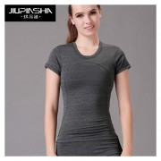 Running Sports Camiseta Yoga Gym Fitness Tee Tops Quick Dry - Gris