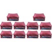 Ajabh High Qulity NEW COMBO OF 10PCS HIGHT SAREE COVER GIFT ORGANIZER TRAVLING BAG KEEP SAREE\SALWAR\JEANS\TOP ETC.(Maroon)