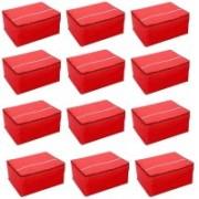Fashion Bizz Regular Non Woven Red Multi Saree Cover 12 Pcs Combo(Red)