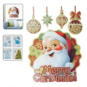 Generic Christmas Series Santa Claus Pattern Glitter Wall Stickers For Home Decoration, Size: 41Cm X 29Cm (Red)