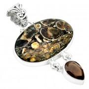 Pandantiv bijuterie din argint 925 cu turritella agat si cuart fumuriu