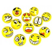 Wiswis Set Of 12 Jumbo Emoji Face Squishy Stress Relief Balls Yellow Foam Soft Novelty Relax Emotional Squeeze Ball