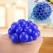 5cm Anti - Estres Relevista Extrusión Compresión Cara De Bola De Humor Sano Uva Socorro Gracioso Tricky Vent Toy Con La Anilla De Colgar (azul)