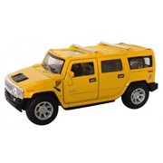 Effy Shoppy 1:36 Metal Yellow Die Cast Car 2008 Hummer H2 SUV, Opening Doors, Vehicle Toy Car