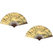 K Decoration Foldable Printed Multicolor Hand Fan(Pack of 2)