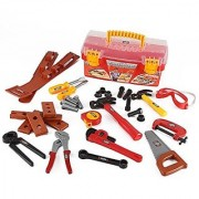 Power Tools Construction Tool Box For Kids With 31 Pcs Pretend Play Tools Belt And Workshop Accessories Toy Set