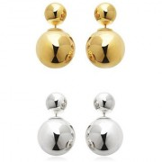 Chrishan High Gold Plated Designer Combo Of Pearl Stud Earring Set For Women And Girls.