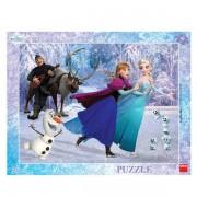 Puzzle cu rama Anna si Elsa la patinoar Dino Toys, 40 piese, 4 ani+
