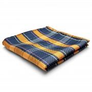 Tailor Toki Plaid Seiden Einstecktuch in Orange & Marineblau