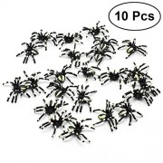 LUOEM Creepy Spiders Toys Party Favor Realistic Halloween Spider Decoration Prank Toy Halloween Gifts for Friends 10 PCS