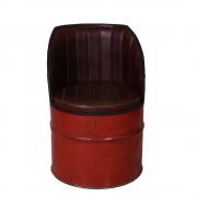 Braun Clubsessel in Rot Braun Metall
