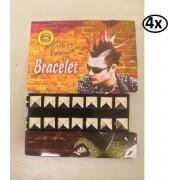 4x Punk armband 2 rijen nagels