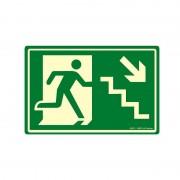 Placa fotoluminescente em pvc 0,5 mm 30 x 20 cm saída de emergência escada desce a direita